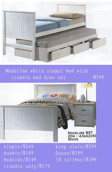 white black bed with trundle and draw set