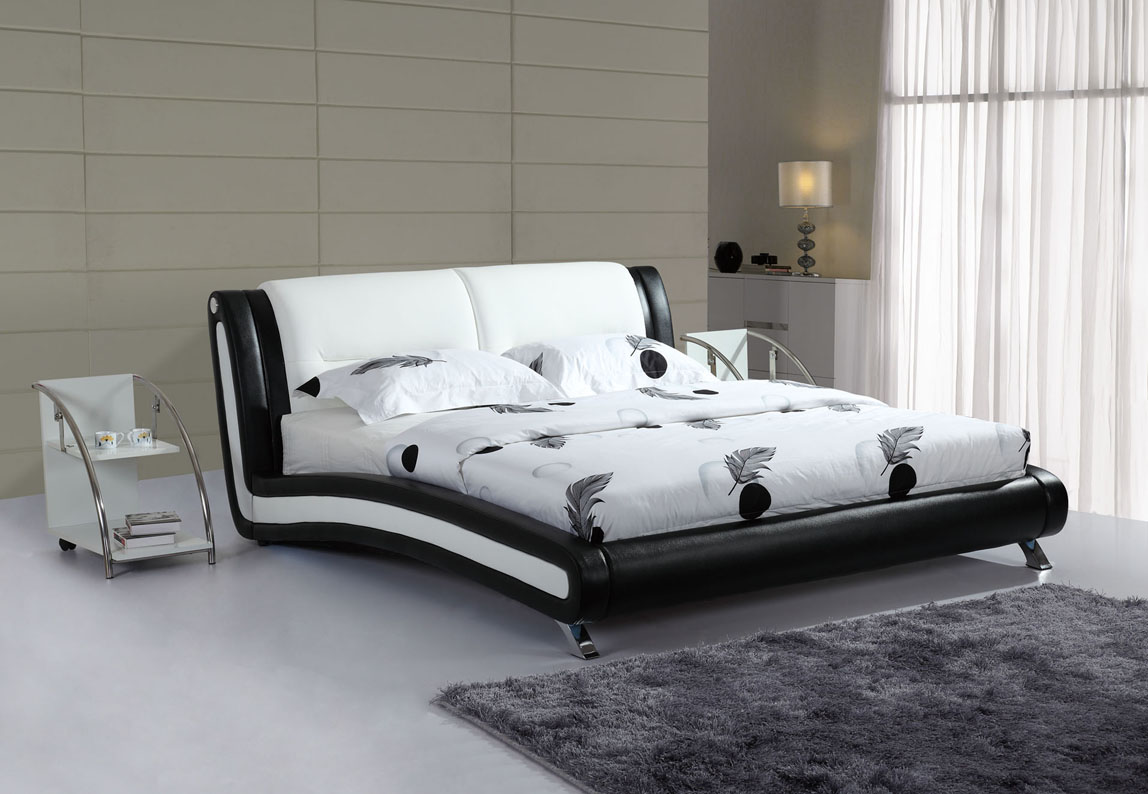 black white leather bed P33