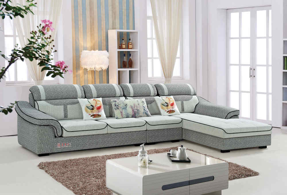 9066 L shape fabric lounge suite