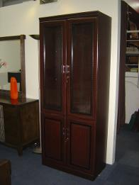 mahogany bookcase with glass door